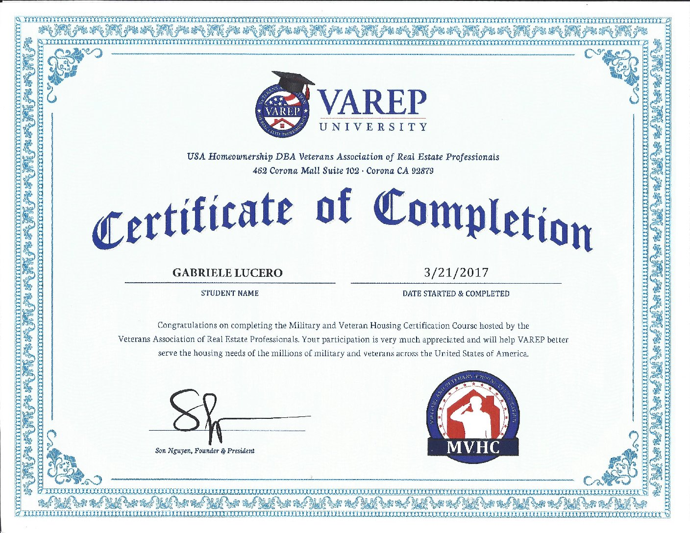 Certificate of Completion for VAREP